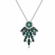 Rever Emerald Diamond Pendant 18K White Gold