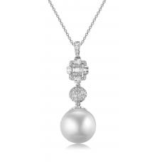 Perla Pearl Diamond Pendant 18K White Gold