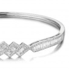 Whimsical Diamond Bangle 18K White Gold