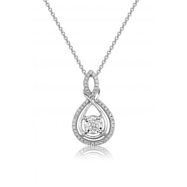 Nobel Illusion Diamond Pendant 18K White Gold