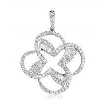 Penjoll Channel Diamond Pendant 18K White Gold