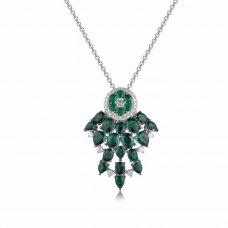 Rever Emerald Diamond Pendant 18K White Gold