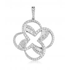 Penjoll Channel Diamond Pendant 18K White Gold