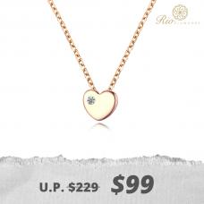 Seo Yeon Bezel Diamond Necklace 14K Rose  Gold