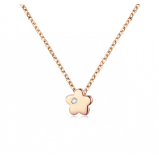 Yun Seo Bezel Necklace 14K Rose Gold