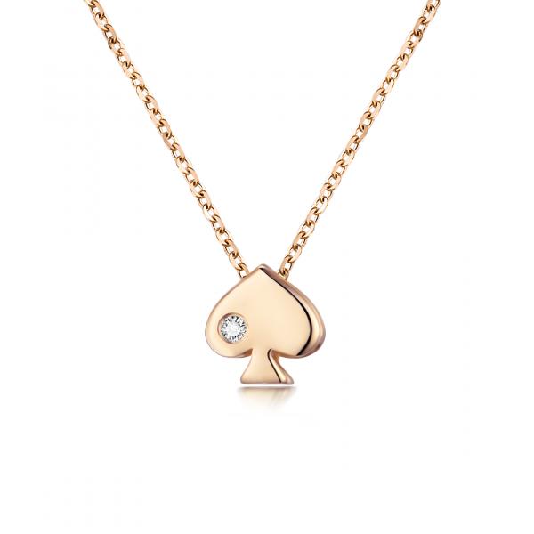 Chae Won Bezel Necklace 14K Rose Gold