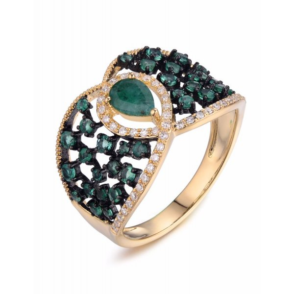 Spectra Emerald Diamond Ring 18k Yellow Gold