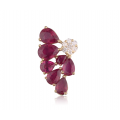 Rubies Cluster Diamond Earring 18K White Gold