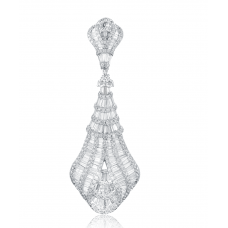 Crown Diamond Drop Earring 18k White Gold