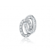 Binary Oval Diamond Earring 18K White Gold