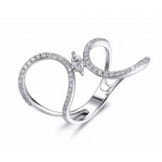 Wavy Marquise Diamond Ring 18K White Gold