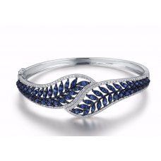 Leafy Sapphire Diamond Bangle 18K White Gold