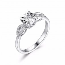 Grandio Illusion Diamond Ring 18k white gold