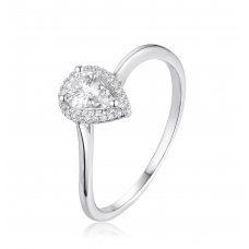 Dewdrop Diamond Ring in 18K White Gold