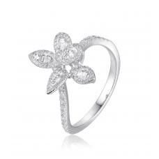 Trefle Channel Diamond Ring 18K White Gold
