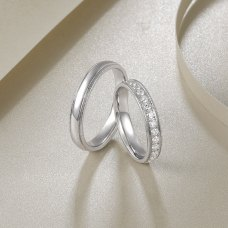 Nadine Diamond Wedding Ring 18K White Gold(Pair)