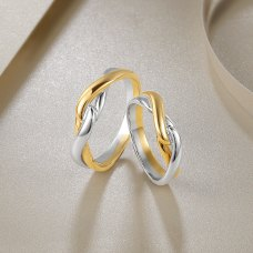 Nomien Diamond Wedding Ring 18K White and Rose Gold(Pair)