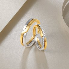Lieselotte Diamond Wedding Ring 18K White Rose Gold (Pair)