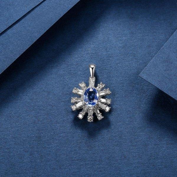 Remington Sapphire Diamond Pendant 18K White Gold