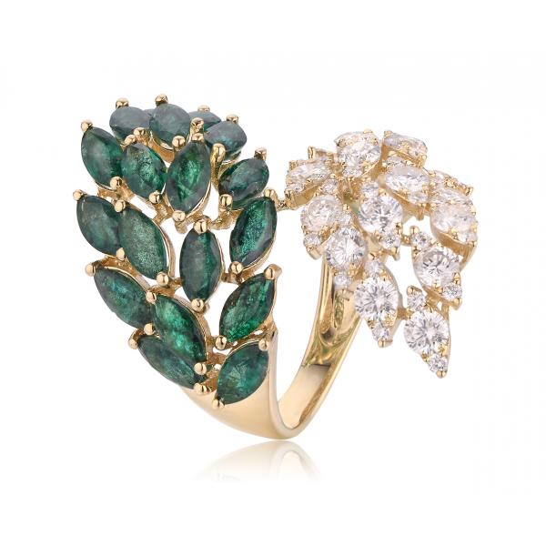 Frond Emerald Diamond Ring 18K Yellow Gold