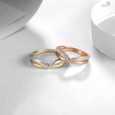 Yoren Diamond Wedding Ring 18K White and Yellow Gold / Platinum (Pair)