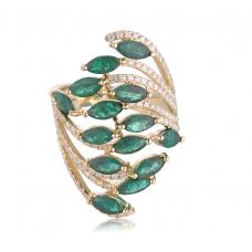Prism Emerald Diamond Ring 18K Yellow Gold