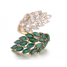 Frond Emerald Diamond Ring 18K Yellow Gold