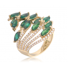 Prism Emerald Diamond Ring 18K Yellow Gold