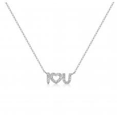 Lovey Diamond Necklace 18K White Gold