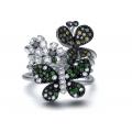 Coralia Sapphire Garnet Diamond Ring 18K White Gold