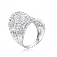 Symmetrical Diamond Ring 18K White Gold