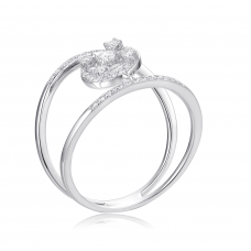 Gorgeous Bing Diamond Ring 18K White Gold