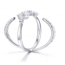 Criss-Cross Diamond Ring 18K White Gold