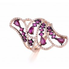 Spectra Ruby Diamond Ring 18K Rose Gold