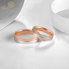Benno Diamond Wedding Ring 18K White and Rose Gold(Pair)