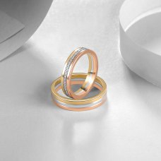 Constanze Diamond Wedding Ring 18K White, Yellow and Rose Gold(Pair)