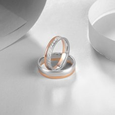 Korun Diamond Wedding Ring 18K White and Rose Gold(Pair)