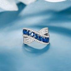 Merrin Blue Sapphire Diamond Ring 18K White Gold