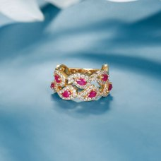 Fiesla Ruby Diamond Ring 18K Yellow Gold