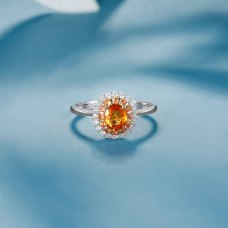 Soombi Orange Sapphire Diamond Ring 18k White Gold