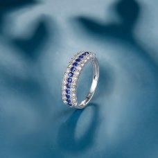 Meky Blue Sapphire Diamond Ring 18K White Gold