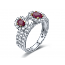 Varia Ruby Diamond Ring 18K White Gold