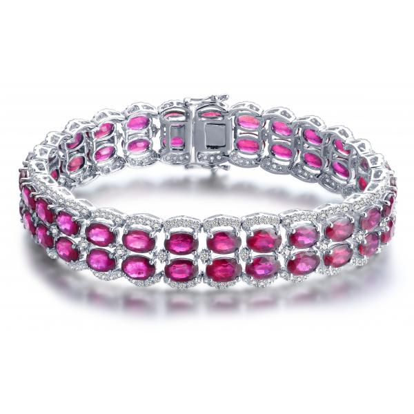 Cohen Ruby Diamond Bracelet 18K White Gold