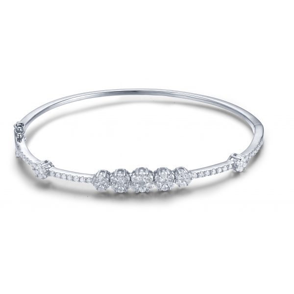 Oriel Prong Diamond Bangle 18K Yellow Gold