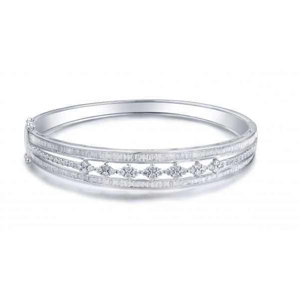 Enid Prong Diamond Bangle 18K White Gold