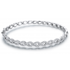 Samira Prong Diamond Bangle 18K White Gold
