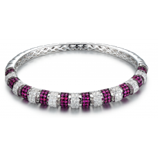 Harmonia Pave Ruby Diamond Bangle 18K White and Black Gold