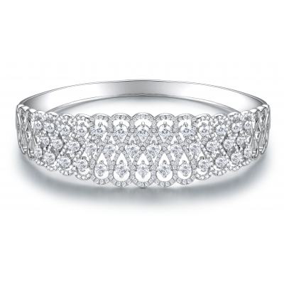 Ariella Prong Diamond Bangle 18K White Gold