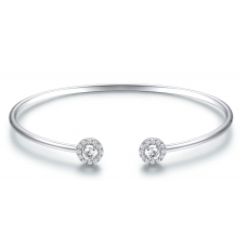 Circe Prong Diamond Bangle 18K White Gold