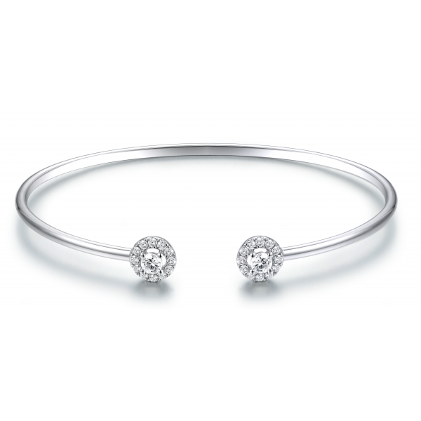 Circe Prong Diamond Bangle 18K White Gold